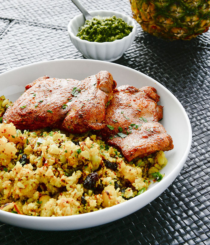 Tandoori Chicken with Curry Pineapple Cauliflower Rice | meljoulwan.com